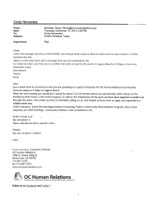 Email to Welter from Kennedy November 15, 2012