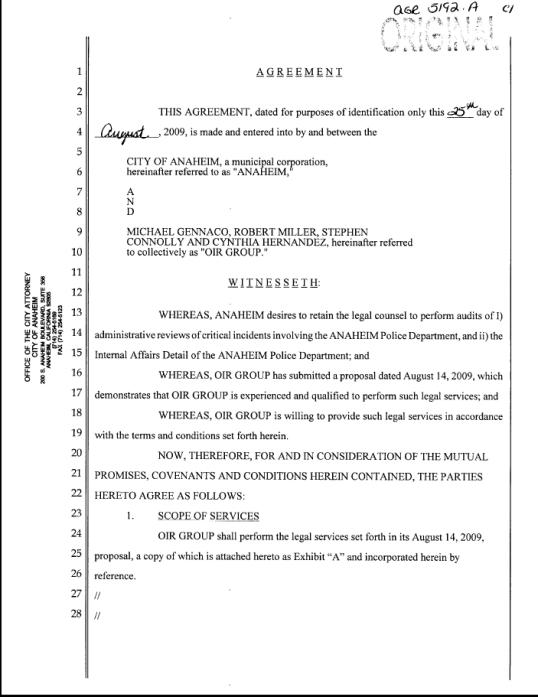 OIR 2009 agreement 1 of 9