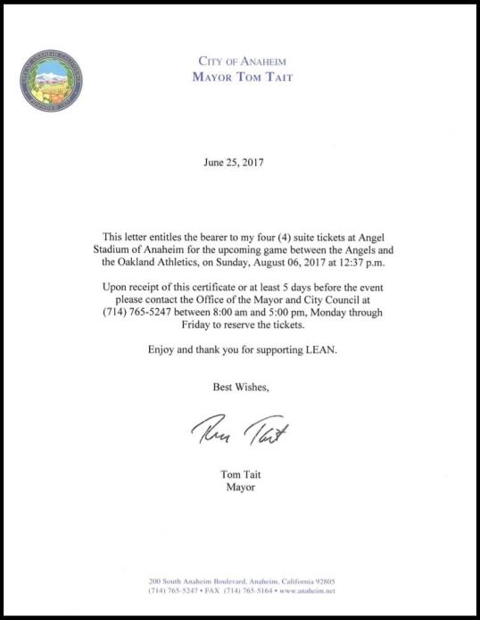 Tait Letter re LEAN