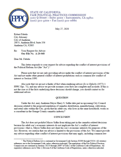 FPPC Letter Re Sidhu 052720 p1